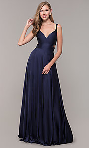 Image of Alyce long formal dress with back cut out. Style: AL-60453 Detail Image 2