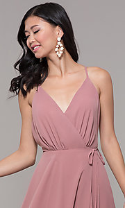 Image of wrap-style long backless formal dress. Style: AL-60456 Detail Image 1