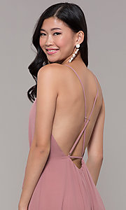 Image of wrap-style long backless formal dress. Style: AL-60456 Detail Image 2