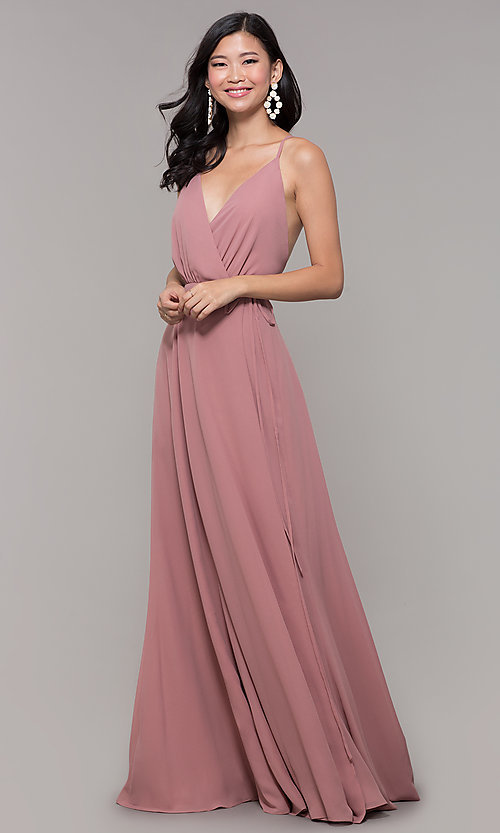 Image of wrap-style long backless formal dress. Style: AL-60456 Front Image