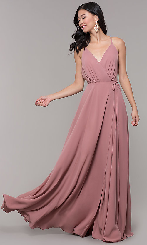 Image of wrap-style long backless formal dress. Style: AL-60456 Detail Image 3