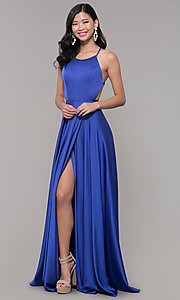 Image of mock-wrap long formal prom dress with open back. Style: AL-60459 Front Image