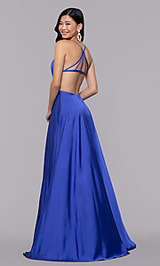 Image of mock-wrap long formal prom dress with open back. Style: AL-60459 Back Image