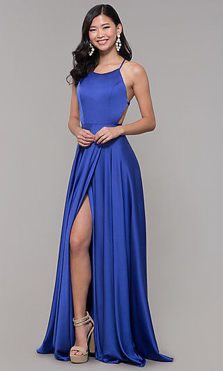 Mock Wrap Long Prom Dress with Open Back