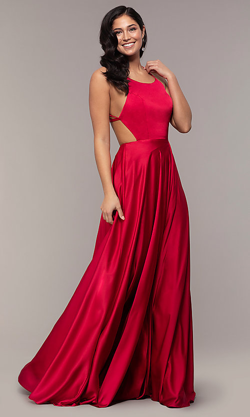 Image of mock-wrap long formal prom dress with open back. Style: AL-60459 Detail Image 4