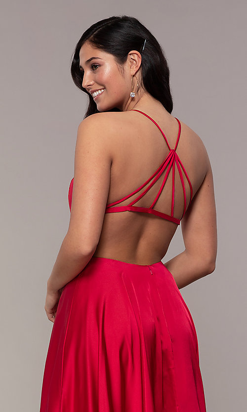 Image of mock-wrap long formal prom dress with open back. Style: AL-60459 Detail Image 7
