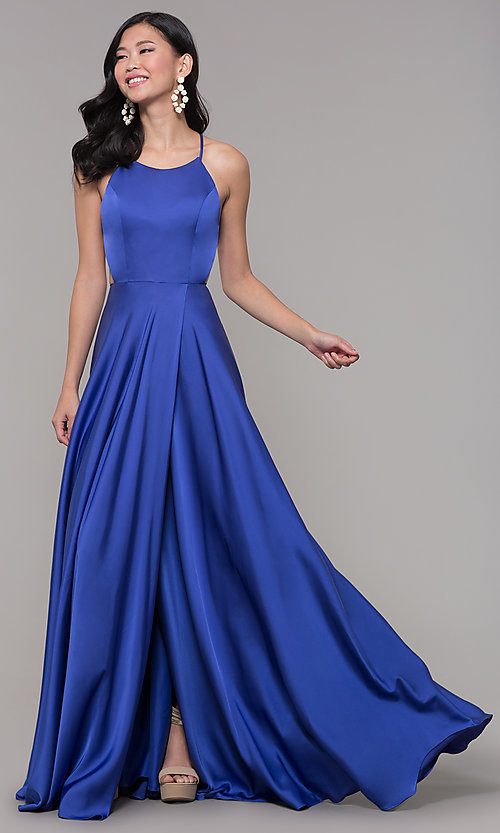 Image of mock-wrap long formal prom dress with open back. Style: AL-60459 Detail Image 3