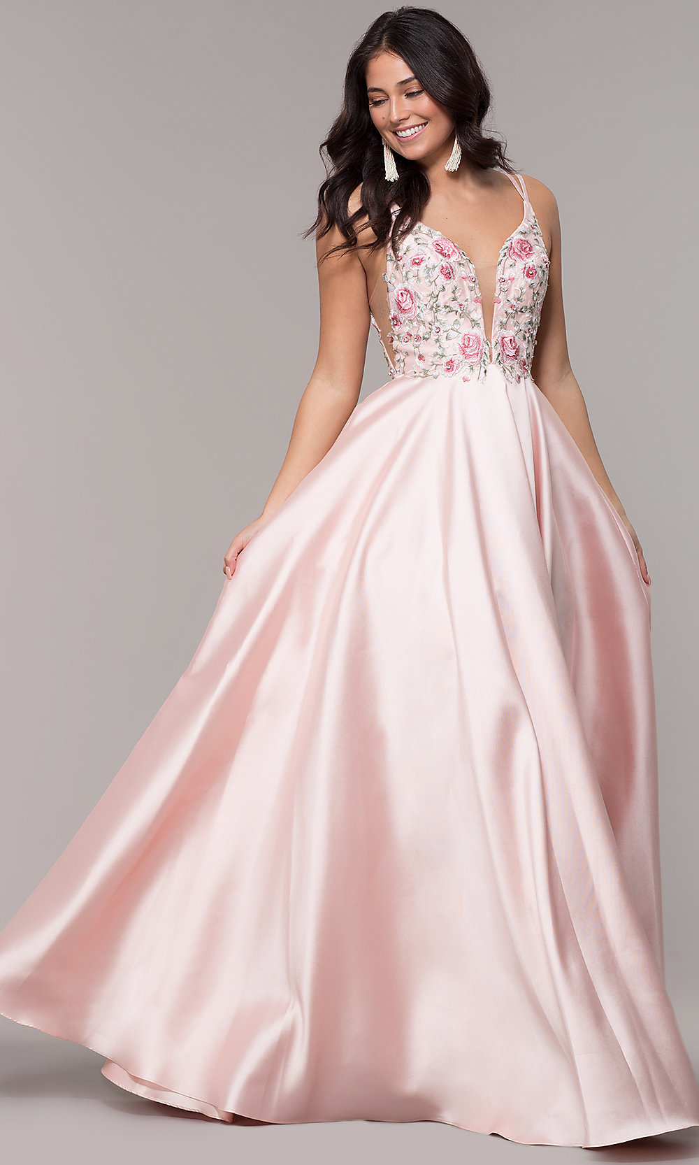 Long V-Neck Formal Prom Dress with Embroidery