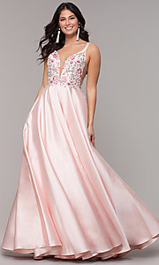 Image of deep-v-neck embroidered-bodice long formal dress. Style: AL-60504 Detail Image 3