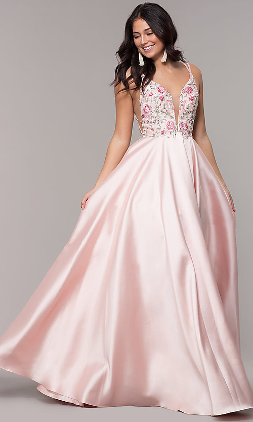 Image of deep-v-neck embroidered-bodice long formal dress. Style: AL-60504 Front Image