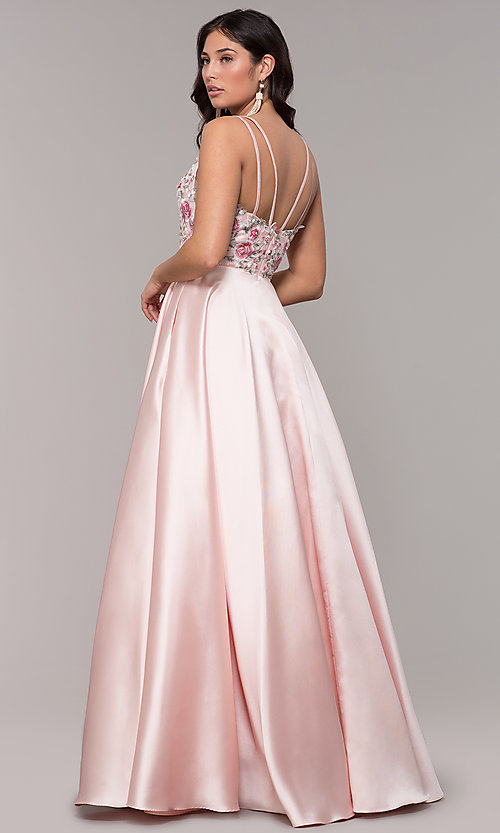 Image of deep-v-neck embroidered-bodice long formal dress. Style: AL-60504 Back Image