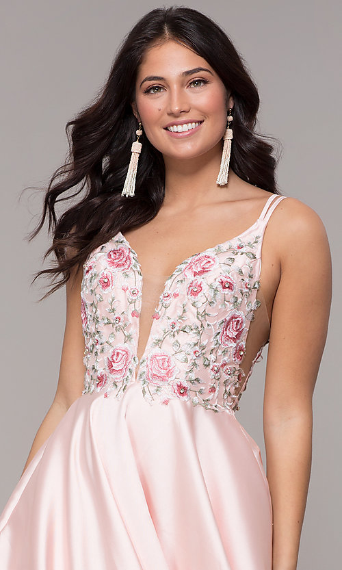 Image of deep-v-neck embroidered-bodice long formal dress. Style: AL-60504 Detail Image 1
