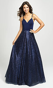 Image of ball-gown-style formal gown by Madison James. Style: NM-19-100 Front Image