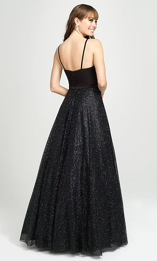 Image of ball-gown-style formal gown by Madison James. Style: NM-19-100 Back Image