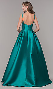 Image of ball-gown-style long formal evening dress. Style: NM-19-107 Back Image