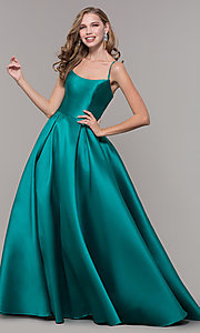 Image of ball-gown-style long formal evening dress. Style: NM-19-107 Detail Image 4