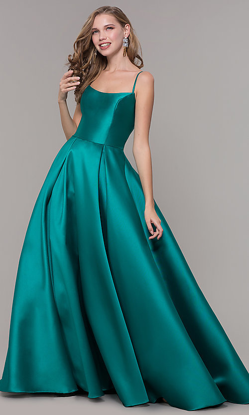 Image of ball-gown-style long formal evening dress. Style: NM-19-107 Front Image