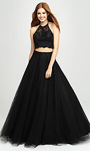 Image of Madison James two-piece backless long formal dress. Style: NM-19-122 Detail Image 7