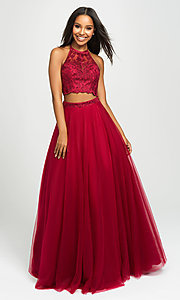 Image of Madison James two-piece backless long formal dress. Style: NM-19-122 Detail Image 1
