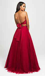 Image of Madison James two-piece backless long formal dress. Style: NM-19-122 Detail Image 2