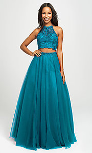 Image of Madison James two-piece backless long formal dress. Style: NM-19-122 Front Image