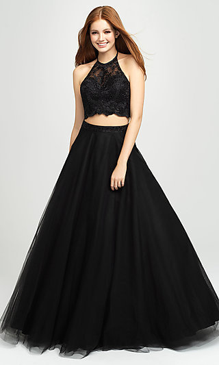 Madison James Two-Piece Backless Long Formal Dress