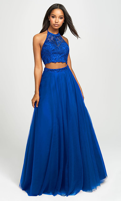 Image of Madison James two-piece backless long formal dress. Style: NM-19-122 Detail Image 5