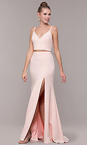 Image of two-piece long formal prom dress with back tie. Style: NM-19-123 Detail Image 3