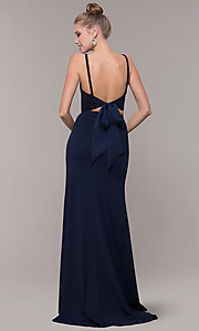 Image of two-piece long formal prom dress with back tie. Style: NM-19-123 Detail Image 6