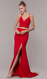 Image of two-piece long formal prom dress with back tie. Style: NM-19-123 Front Image
