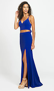 Image of two-piece long formal prom dress with back tie. Style: NM-19-123 Detail Image 7