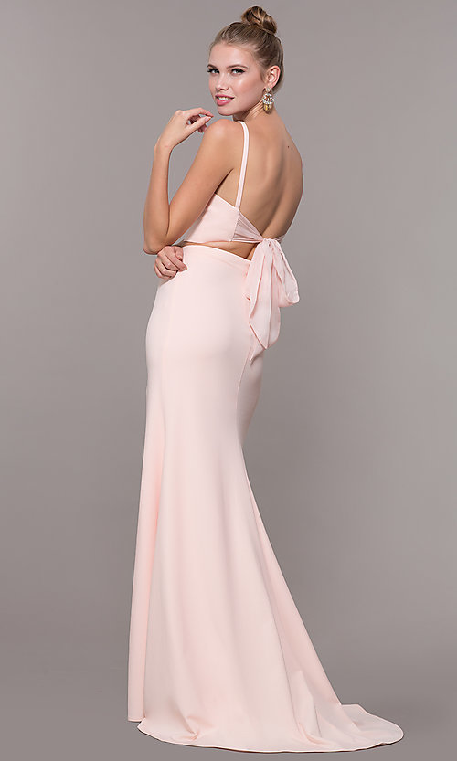 Image of two-piece long formal prom dress with back tie. Style: NM-19-123 Detail Image 4