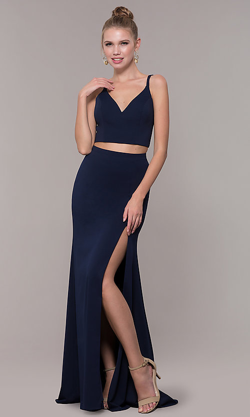 Image of two-piece long formal prom dress with back tie. Style: NM-19-123 Detail Image 5