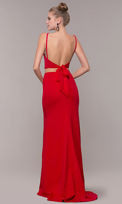 Image of two-piece long formal prom dress with back tie. Style: NM-19-123 Back Image