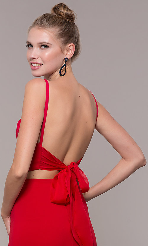 Image of two-piece long formal prom dress with back tie. Style: NM-19-123 Detail Image 2