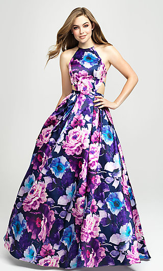 Madison James Floral-Print Long Formal Prom Dress