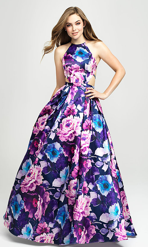 Image of Madison James a-line floral-print long formal prom dress. Style: NM-19-127 Front Image