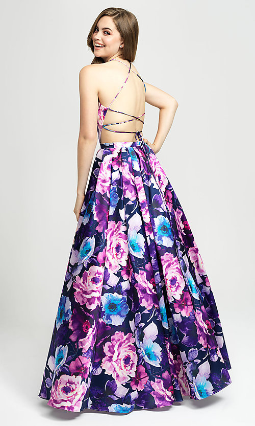 Image of Madison James a-line floral-print long formal prom dress. Style: NM-19-127 Back Image