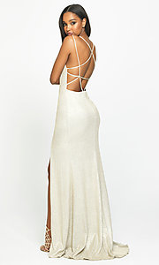 Image of open-back rose gold long sparkly formal prom dress. Style: NM-19-131 Detail Image 5
