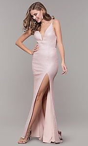 Image of open-back rose gold long sparkly formal prom dress. Style: NM-19-131 Front Image