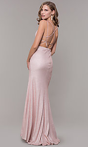 Image of open-back rose gold long sparkly formal prom dress. Style: NM-19-131 Back Image