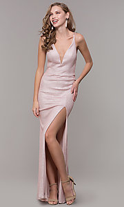Image of open-back rose gold long sparkly formal prom dress. Style: NM-19-131 Detail Image 3
