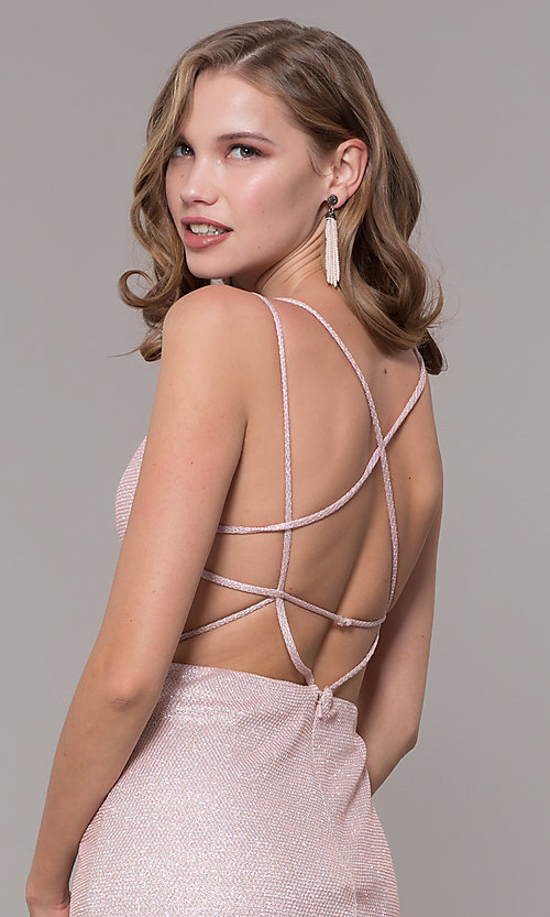 Image of open-back rose gold long sparkly formal prom dress. Style: NM-19-131 Detail Image 2