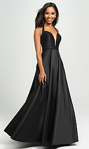 Image of long a-line v-neck formal gown with back cut out. Style: NM-19-171 Detail Image 5