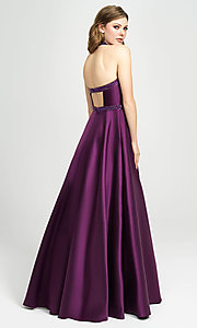 Image of long a-line v-neck formal gown with back cut out. Style: NM-19-171 Back Image