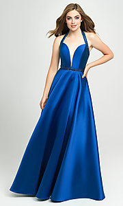 Image of long a-line v-neck formal gown with back cut out. Style: NM-19-171 Detail Image 7