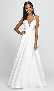 Image of long a-line v-neck formal gown with back cut out. Style: NM-19-171 Detail Image 8
