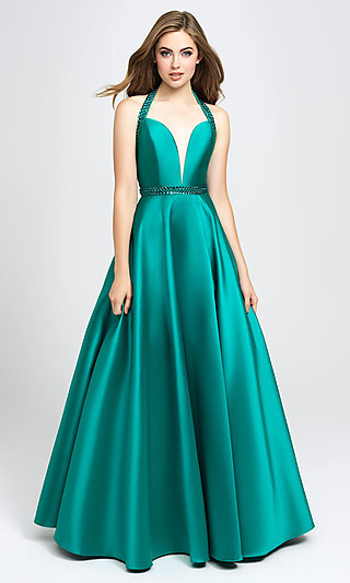 Long A-Line V-Neck Formal Gown with Back Cut-Out