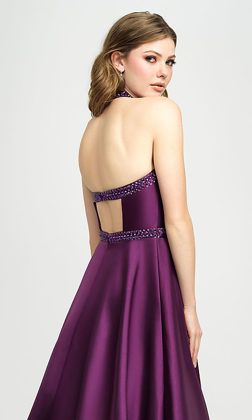 Image of long a-line v-neck formal gown with back cut out. Style: NM-19-171 Detail Image 2