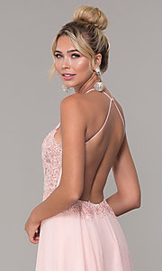 Image of high-neck blush pink long backless prom dress. Style: DQ-PL-2692 Detail Image 2